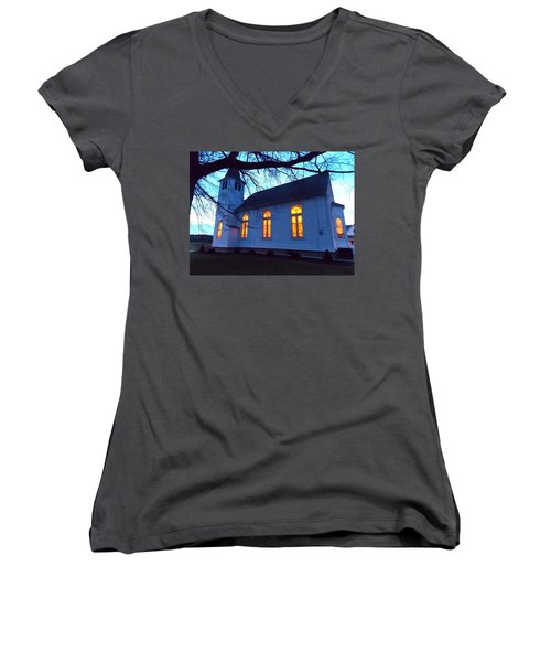 Exterior Church Evening Women's V-Neck (Athletic Fit)