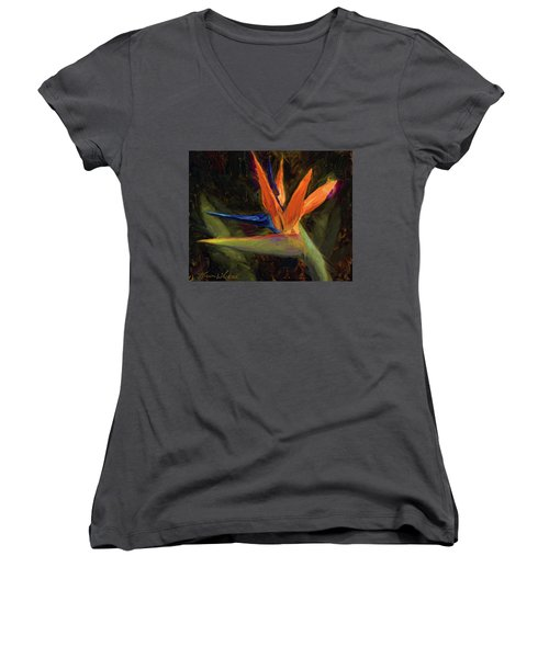 Women's V-Neck T-Shirt (Junior Cut) featuring the painting Extravagance - Tropical Bird Of Paradise Flower by Karen Whitworth