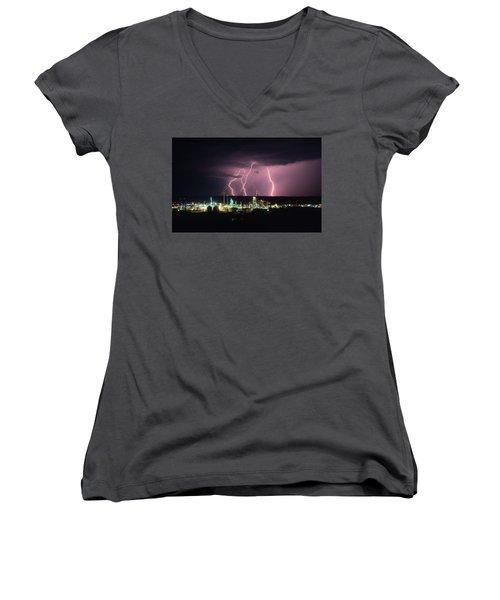 Exxon Lightning Women's V-Neck T-Shirt