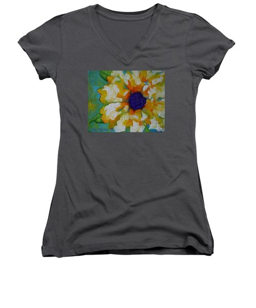 Women's V-Neck T-Shirt (Junior Cut) featuring the painting Eye Of The Flower by Alison Caltrider
