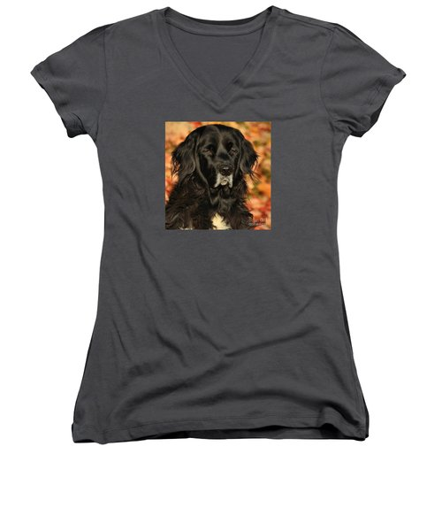 Women's V-Neck T-Shirt (Junior Cut) featuring the photograph Eyes Of Autumn by Debbie Stahre