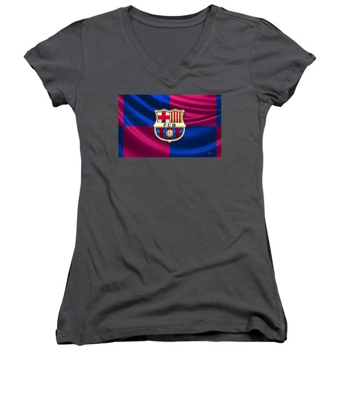 F. C. Barcelona - 3d Badge Over Flag Women's V-Neck T-Shirt (Junior Cut) by Serge Averbukh
