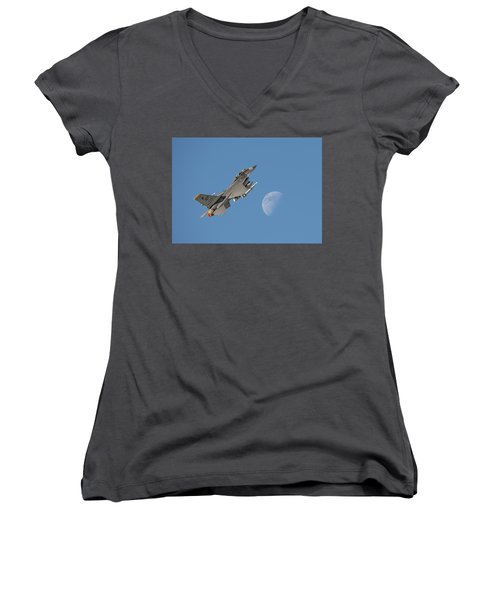 Women's V-Neck T-Shirt (Junior Cut) featuring the photograph F16 - Aiming High by Pat Speirs