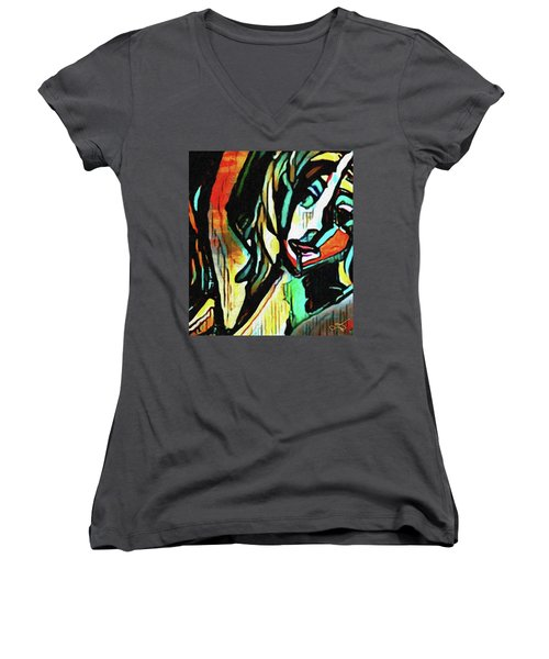 Face #64 Women's V-Neck (Athletic Fit)
