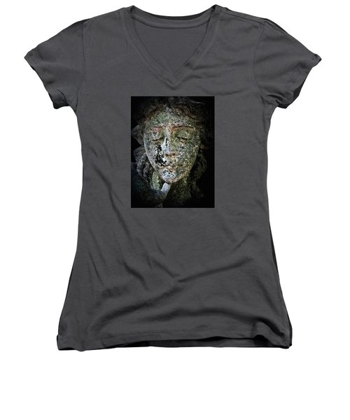 Women's V-Neck T-Shirt (Junior Cut) featuring the photograph Face Of An Angel 11 by Maria Huntley