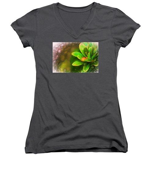 Faded Flora Women's V-Neck T-Shirt