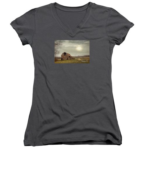 Faded Red Barn Women's V-Neck (Athletic Fit)