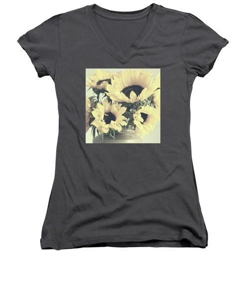 Faded Sunflowers Women's V-Neck (Athletic Fit)