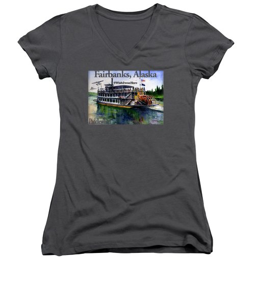 Fairbanks Paddle Wheel Shirt Women's V-Neck (Athletic Fit)