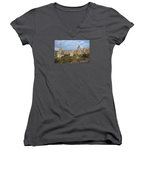 Women's V-Neck T-Shirt (Junior Cut) featuring the photograph Fairy Tale Of Cappadocia by Yuri Santin