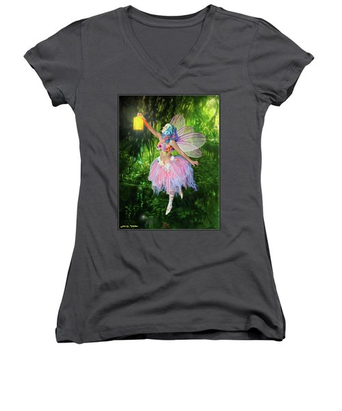 Fairy With Light Women's V-Neck (Athletic Fit)