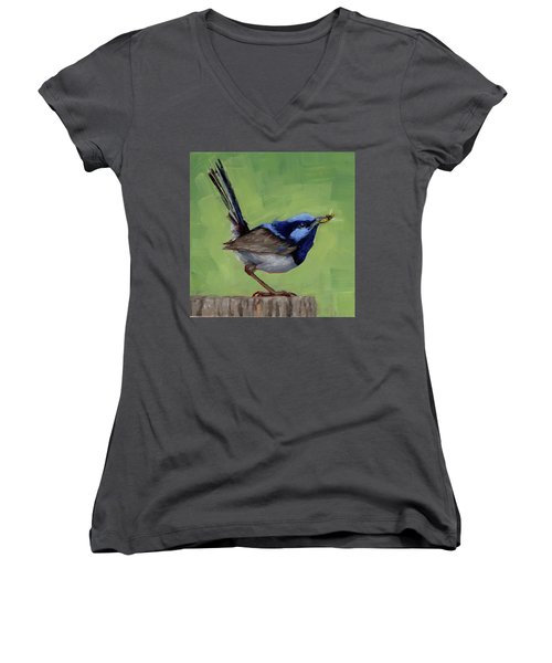 Women's V-Neck T-Shirt (Junior Cut) featuring the painting Fairy Wren With Lunch  by Margaret Stockdale