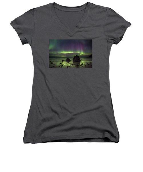 Fairytale Beach Women's V-Neck T-Shirt (Junior Cut) by Alex Conu