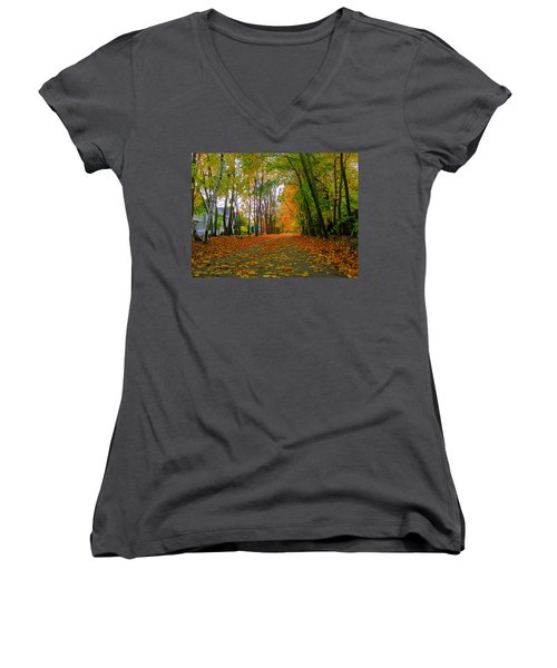 Fall Afternoon On The Rail Trail Women's V-Neck T-Shirt