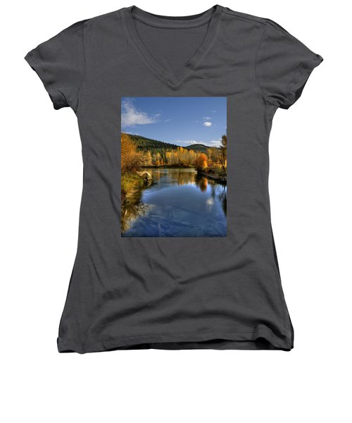 Fall At Blackbird Island Women's V-Neck T-Shirt