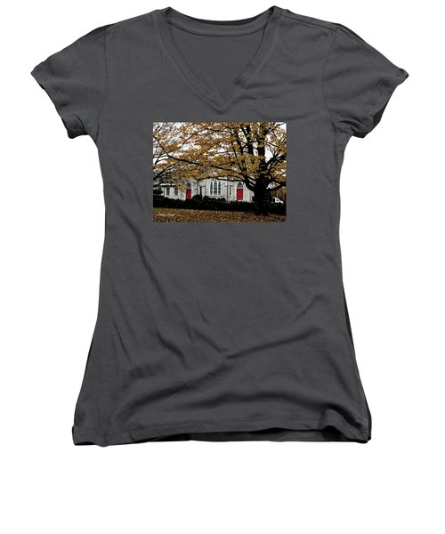 Fall At Church Women's V-Neck (Athletic Fit)
