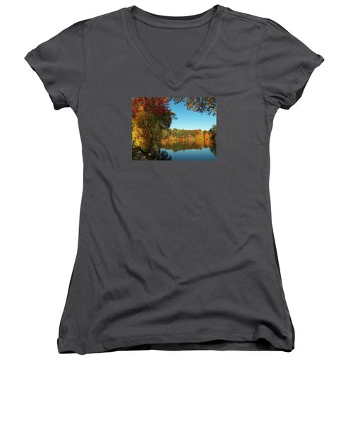 Fall At Johnson Pond Women's V-Neck T-Shirt
