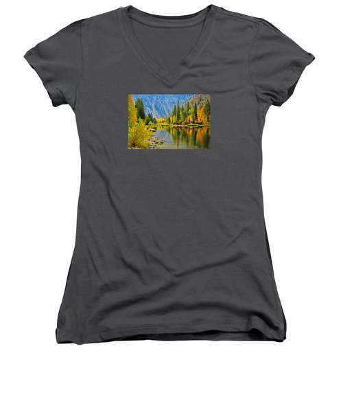 Fall At North Lake Women's V-Neck (Athletic Fit)
