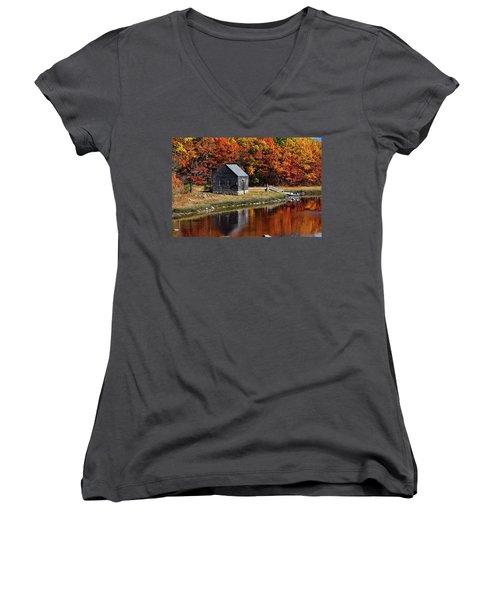 Fall At Rye Women's V-Neck T-Shirt (Junior Cut) by Tricia Marchlik