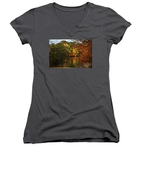 Fall At The Lake Women's V-Neck T-Shirt (Junior Cut) by Judy Wolinsky