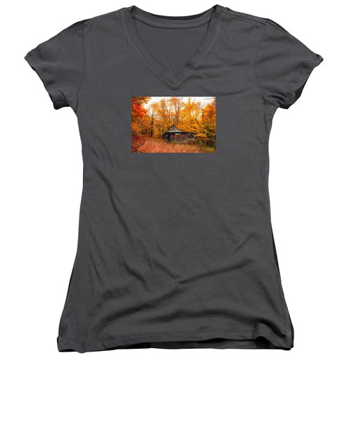 Fall At The Sugar House Women's V-Neck T-Shirt (Junior Cut) by Robert Clifford
