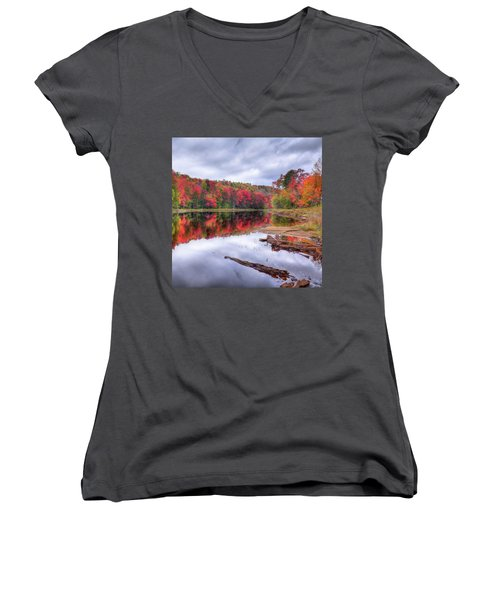 Women's V-Neck T-Shirt (Junior Cut) featuring the photograph Fall Color At The Pond by David Patterson