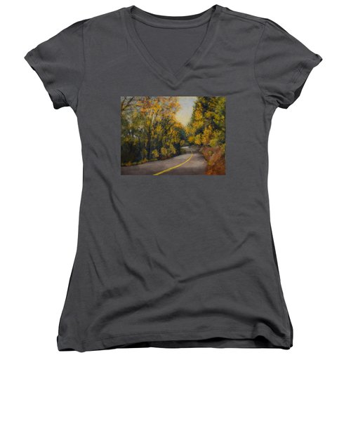 Women's V-Neck T-Shirt (Junior Cut) featuring the painting Fall Color by Nancy Jolley