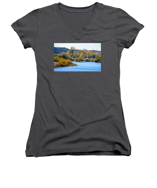 Women's V-Neck T-Shirt featuring the photograph Fall Color On The Yuba  by AJ Schibig