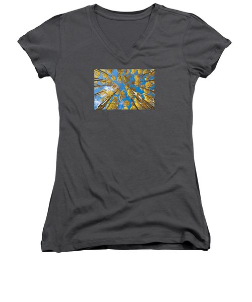 Fall Colored Aspens In The Inner Basin Women's V-Neck (Athletic Fit)