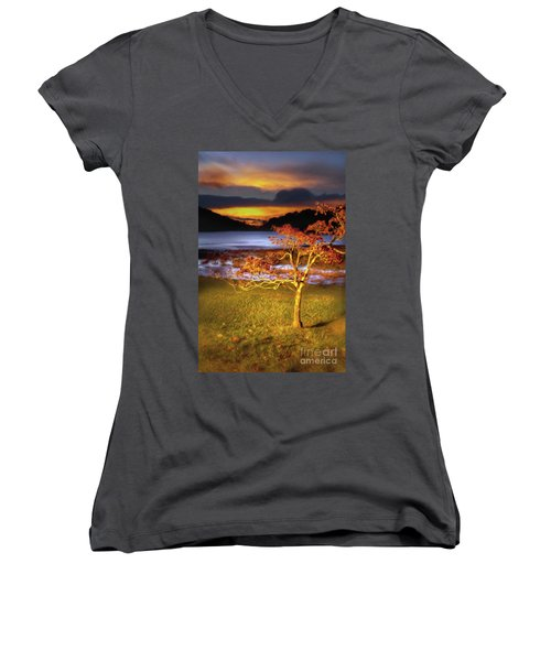 Fall Colors At Sunrise In Otter Blue Ridge Ap Women's V-Neck T-Shirt (Junior Cut) by Dan Carmichael