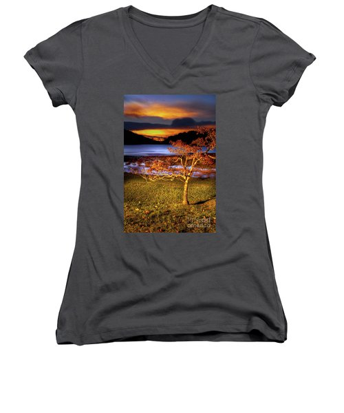 Fall Colors At Sunrise In Otter Blue Ridge Women's V-Neck T-Shirt (Junior Cut) by Dan Carmichael