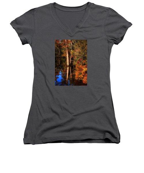 Fall Colors  Women's V-Neck T-Shirt (Junior Cut) by Ester Rogers