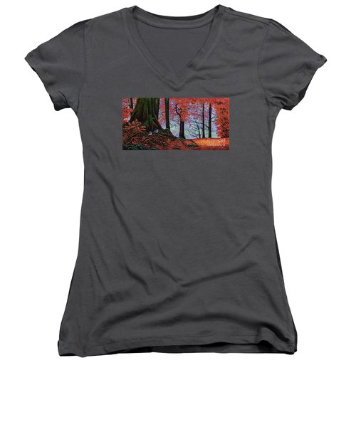 Women's V-Neck T-Shirt (Junior Cut) featuring the painting Fall Colors II by Michael Frank