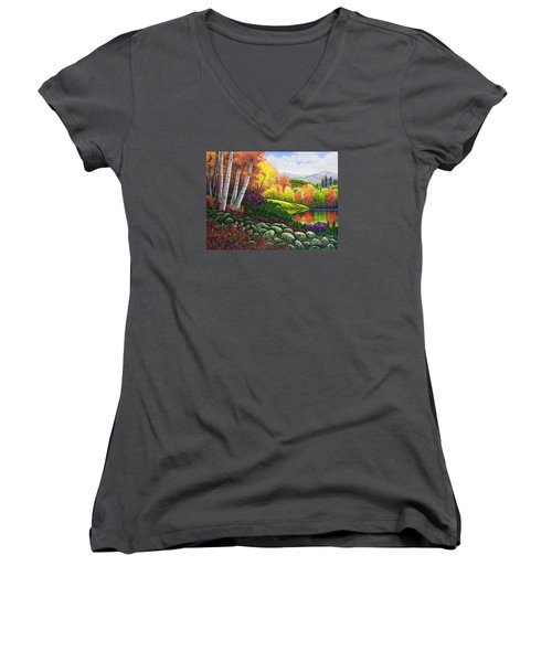 Women's V-Neck T-Shirt (Junior Cut) featuring the painting Fall Colors by Michael Frank