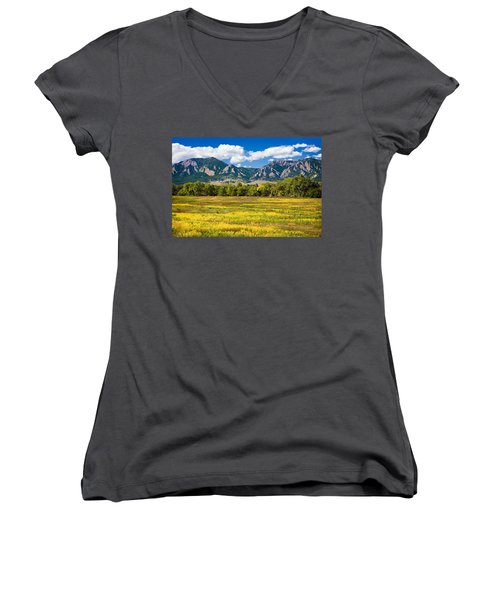 Fall Colors Of Boulder Colorado Women's V-Neck