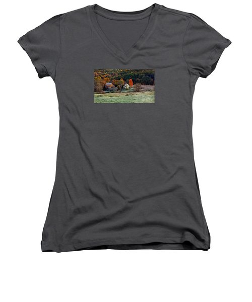 Women's V-Neck T-Shirt (Junior Cut) featuring the photograph Fall Country Side - Vt2015 by Joe Finney