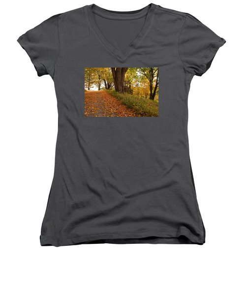 Women's V-Neck T-Shirt (Junior Cut) featuring the photograph Fall Driveway by Lois Lepisto