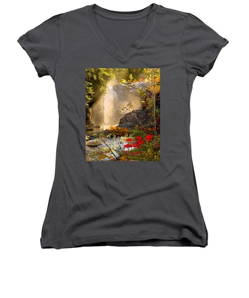 Fall Falls Mist  Dead River Falls  Marquette Mi Women's V-Neck T-Shirt (Junior Cut) by Michael Bessler