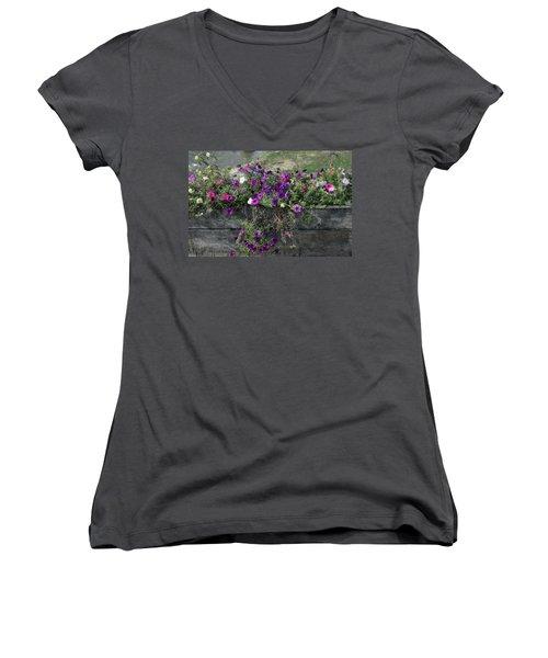 Fall Flower Box Women's V-Neck T-Shirt (Junior Cut) by Joanne Coyle