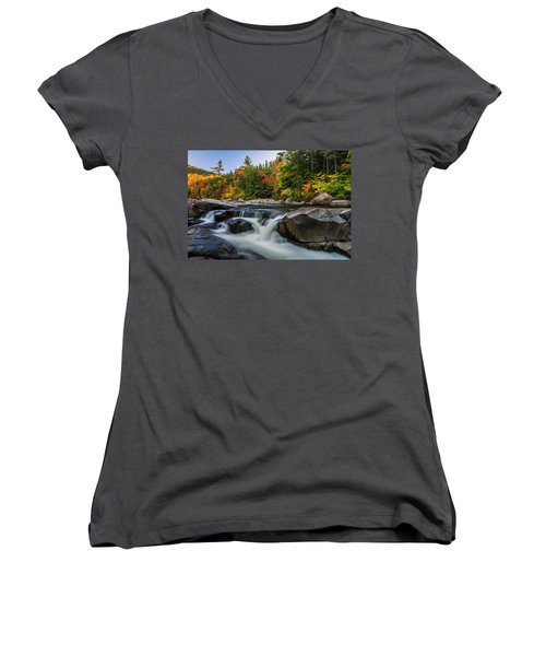 Fall Foliage Along Swift River In White Mountains New Hampshire  Women's V-Neck T-Shirt (Junior Cut) by Ranjay Mitra