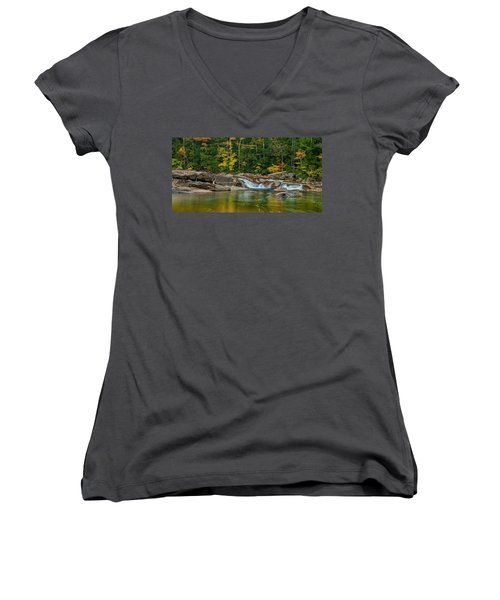 Fall Foliage In Autumn Along Swift River In New Hampshire Women's V-Neck T-Shirt (Junior Cut) by Ranjay Mitra