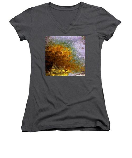 Women's V-Neck T-Shirt (Junior Cut) featuring the digital art Fall Foliage by John Krakora