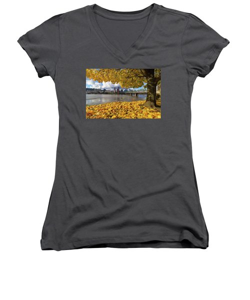 Fall Foliage With Portland Oregon City Women's V-Neck (Athletic Fit)