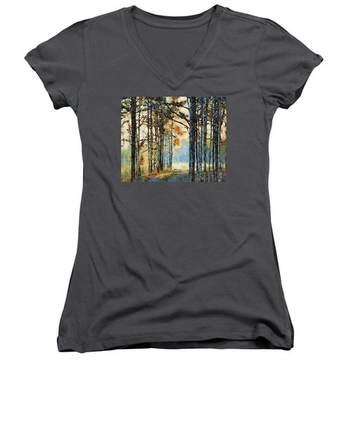 Fall Forest Watercolor Women's V-Neck (Athletic Fit)