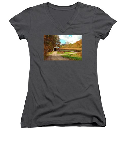 Women's V-Neck T-Shirt (Junior Cut) featuring the photograph Fall Harvest - Parke County by Harold Rau