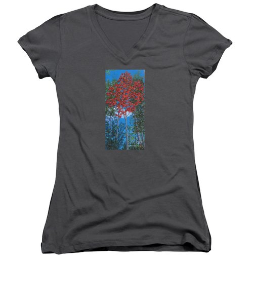 Fall In Asheville Women's V-Neck T-Shirt (Junior Cut) by Anne Marie Brown