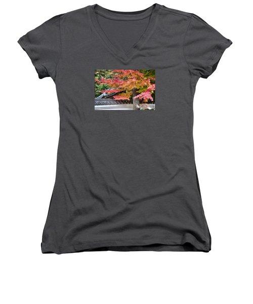 Fall In Japan Women's V-Neck T-Shirt (Junior Cut) by Tad Kanazaki