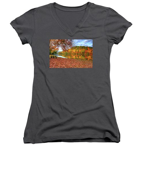 Fall In Murphy, North Carolina Women's V-Neck T-Shirt (Junior Cut) by Sharon Batdorf
