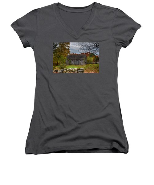 Fall In New England Women's V-Neck T-Shirt (Junior Cut) by Tricia Marchlik