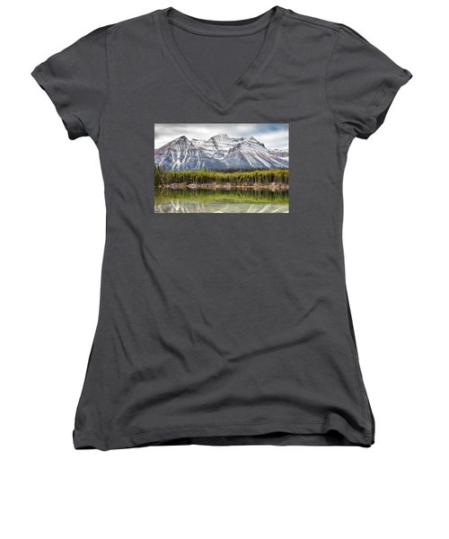 Women's V-Neck T-Shirt (Junior Cut) featuring the photograph Fall In The Canadian Rockies by Pierre Leclerc Photography